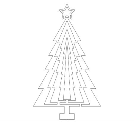 Continuous one single line drawing Christmas tree icon vector illustration concept Imagens - 136802837