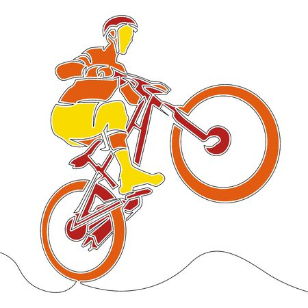 Flat colorful continuous drawing line art Cyclists icon vector illustration concept