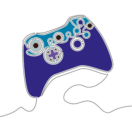 Flat colorful continuous drawing line art gamepad Game controller icon vector illustration concept Imagens - 136802848