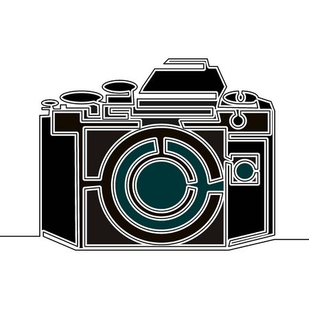 Flat colorful continuous drawing line art camera icon vector illustration concept Imagens - 136802850