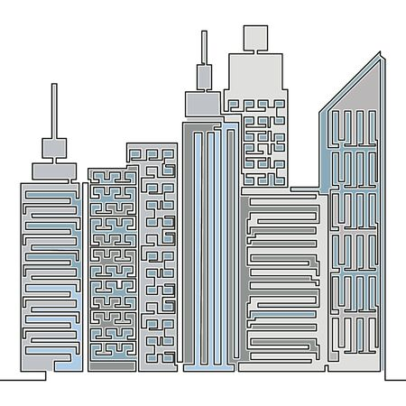 Flat colorful continuous drawing line art business city architecture icon vector illustration concept Imagens - 136802852