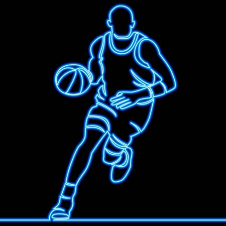 Continuous one single line drawing basketball player neon glow vector illustration concept