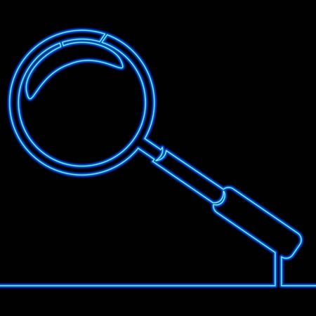 Continuous one single line drawing Loupe search magnifying neon glow vector illustration concept Ilustração