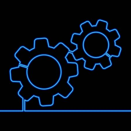 Continuous one single line drawing Gear Cogwheel neon glow vector illustration concept Imagens - 136802856