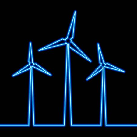 Continuous one single line drawing wind turbine windmill neon glow vector illustration concept 向量圖像
