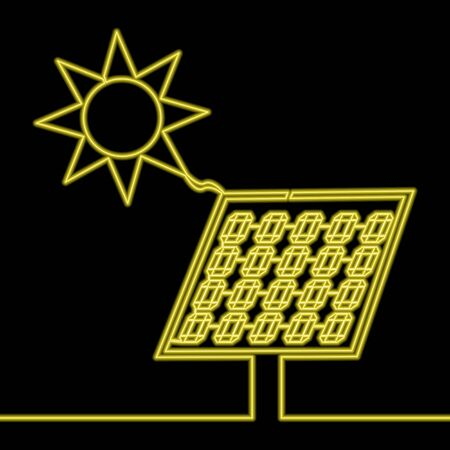 Continuous one single line drawing Solar panel yellow neon glow vector illustration concept