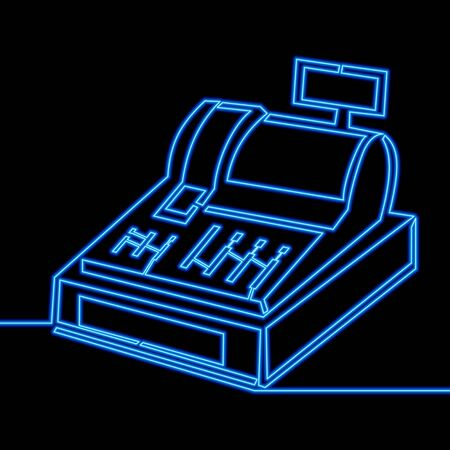Continuous one single line drawing Cash register blue neon glow vector illustration concept Imagens - 134949061