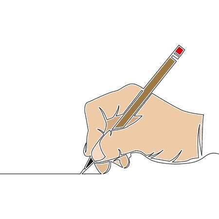 Flat colorful continuous drawing line art Hand holding pencil and writing icon vector illustration concept Imagens - 135235982