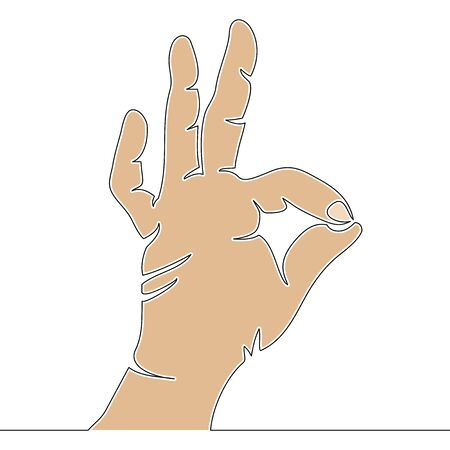 Flat colorful continuous drawing line art OK hand sign icon vector illustration concept Imagens - 135236081