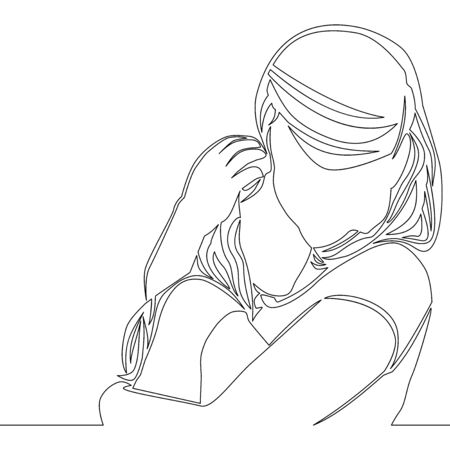 Continuous one single line drawing mother with child icon vector illustration concept