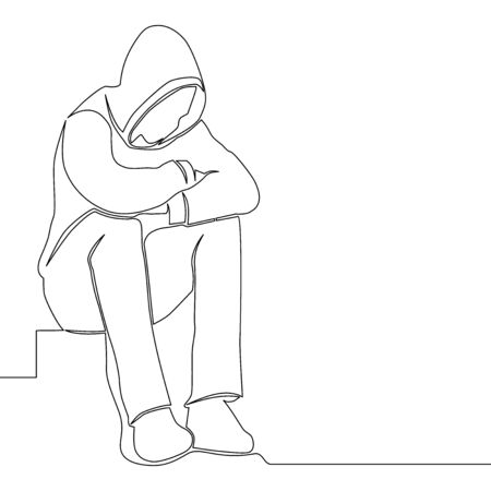 Continuous one single line drawing sad man sitting alone solitude icon vector illustration concept Vector Illustration