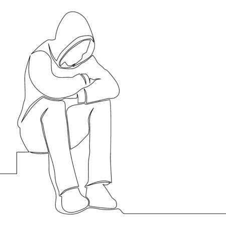 Une seule ligne continue de dessin homme triste assis seul solitude icône vector illustration concept Vecteurs