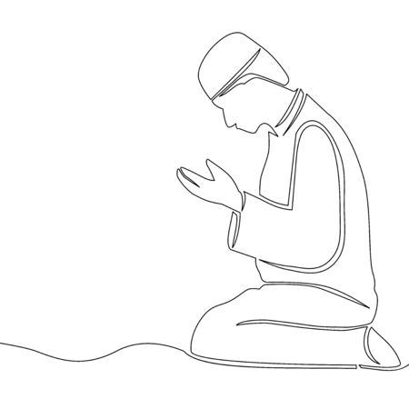 Continuous one single line drawing Islamic praying icon vector illustration concept Imagens - 136802883