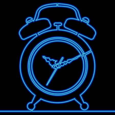 Continuous one single line drawing Alarm clock blue neon glow vector illustration concept Imagens - 136802885