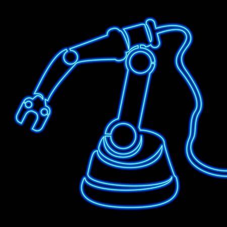 Continuous one single line drawing robot arm Manufacturing neon glow vector illustration concept Imagens - 136802887