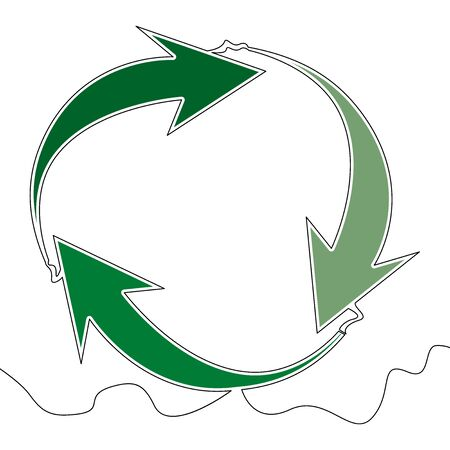 Flat colorful continuous drawing line art Recycle arrows sign green icon vector illustration concept Imagens - 136802894