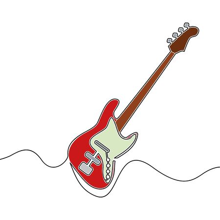 Flat colorful continuous drawing line art electric guitar icon vector illustration concept