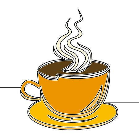 Flat colorful continuous drawing line art Cup of coffee icon vector illustration concept Imagens - 136802897