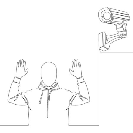Continuous one single line drawing surveillance camera and thief icon vector illustration concept