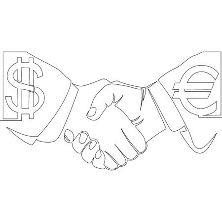 Continuous one single line drawing Handshake currency of dollar with euro icon vector illustration concept Imagens - 136802996