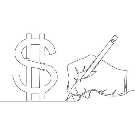 Continuous one single line business man hand drawing dollar sign icon vector illustration concept Imagens - 136802997