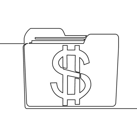 Continuous one single line drawing banking folder database with dollar sign icon vector illustration concept