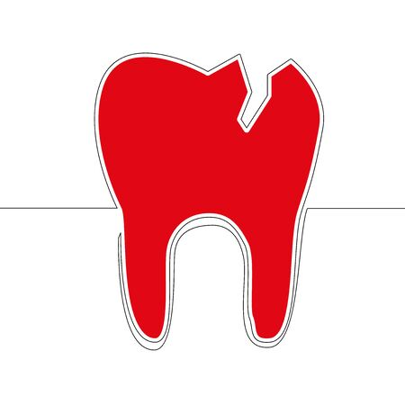 Flat colorful continuous drawing line artred Cracked tooth icon vector illustration Dental medicine concept Imagens - 136803000