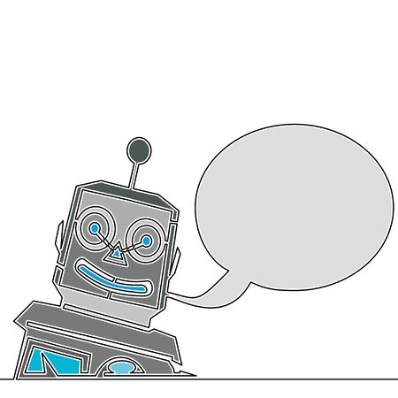 Flat colorful continuous drawing line art Chat Bot Virtual Assistance icon vector illustration concept Imagens - 136803001