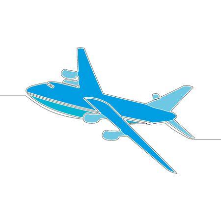 Flat colorful continuous drawing line art airplane icon vector illustration concept Ilustração