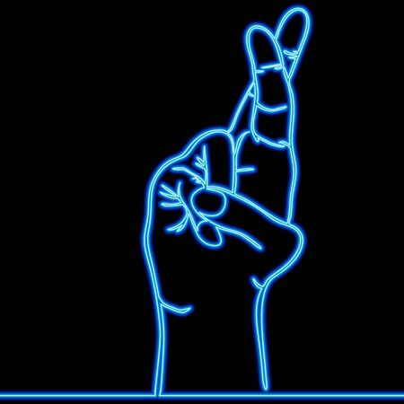 Continuous one single line drawing Sign language Fingers crossed Superstition luckgesture icon neon glow vector illustration concept Imagens - 136961042