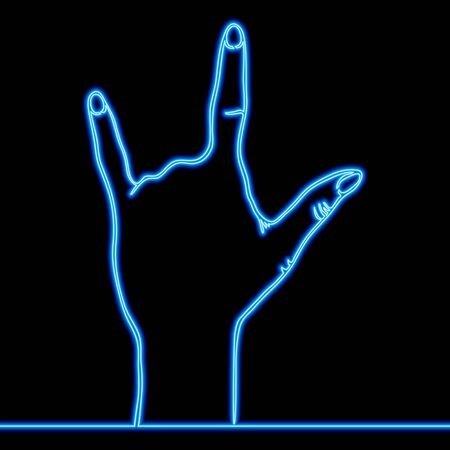 Continuous one single line drawing hand that rocks finger icon neon glow vector illustration concept Ilustração