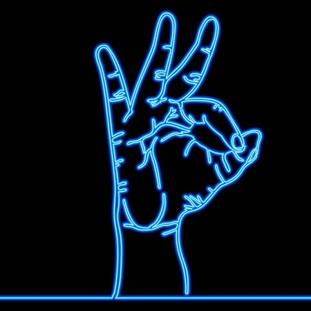 Continuous one single line drawing Sign Ok finger icon neon glow vector illustration concept