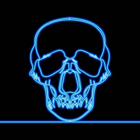 Continuous one single line drawing skull x-ray icon neon glow vector illustration concept