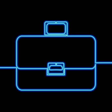 Continuous one single line drawing briefcase icon neon glow vector illustration concept