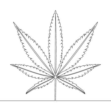 Continuous one single line drawing marijuana leaf icon vector illustration concept Ilustração
