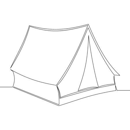 Continuous one single line drawing tent icon vector illustration concept Ilustração