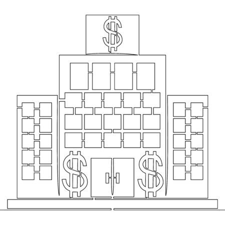 Continuous one single line drawing bank building icon vector illustration concept