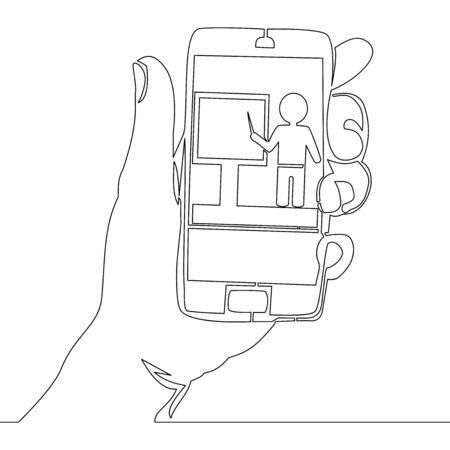 Continuous one single line drawing Online education icon vector illustration concept Ilustração