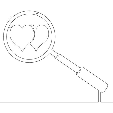 Continuous one single line drawing Search love icon vector illustration concept