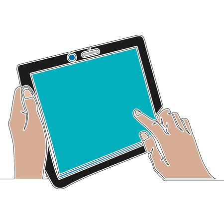 Flat colorful continuous drawing line art hand holding and using tablet icon vector illustration concept Imagens - 137684326