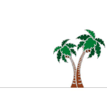Flat colorful continuous drawing line art Coconut palm tree icon vector illustration concept