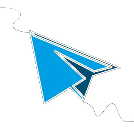 Flat colorful continuous drawing line art Paper plane icon vector illustration concept