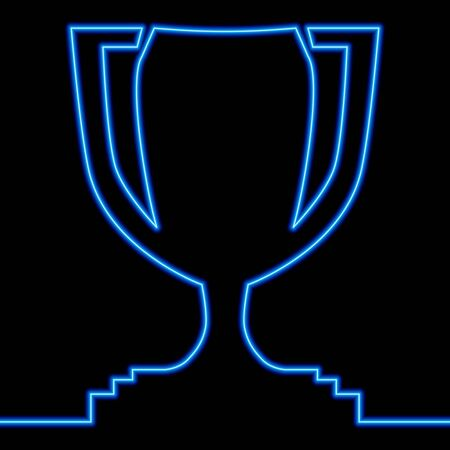 Continuous one single line drawing Award cup Winner Trophy icon neon glow vector illustration concept