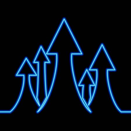 Continuous one single line drawing arrows move up growth icon neon glow vector illustration concept