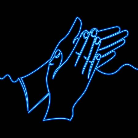 Continuous one single line drawing Clapping hands emoji Applause gesture icon neon glow vector illustration concept