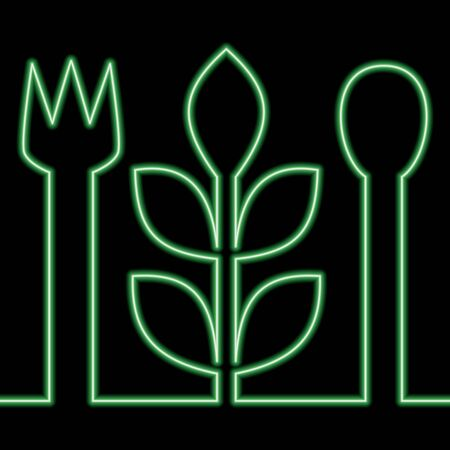 Continuous one single line drawing vegetarian food Diet icon neon glow vector illustration concept Imagens - 138165395