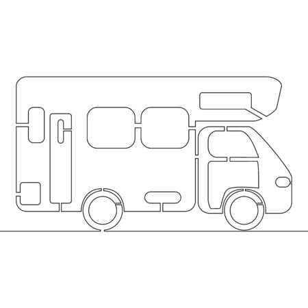 Continuous one single line drawing camper van icon vector illustration concept