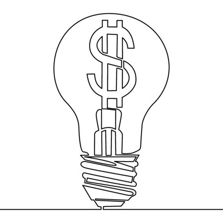 Continuous one single line drawing Light bulb with dollar symbol icon vector illustration concept