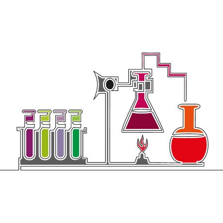 Flat colorful continuous drawing line art chemical laboratory icon vector illustration concept