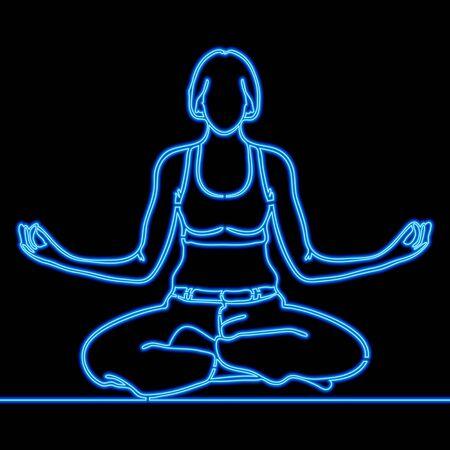 Continuous one single line drawing Yoga girl icon neon glow vector illustration concept Vektoros illusztráció